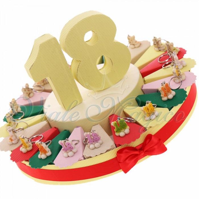 Torta Bomboniere Compleanno Ragazza Portachiavi 18 Anni su Fiore Alzatina
