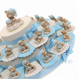 Torte Bomboniere Nascita Battesimo con Statuina Orsettino NinnaNanna Baby Shower Confettata