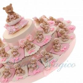 Torta Bomboniere con Statuina Orsettina NinnaNanna Bimba