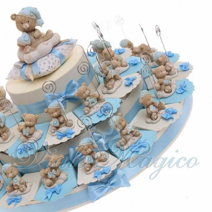 Torte Bomboniere Economiche Nascita Bimbo con Memoclip Orsettino NinnaNanna