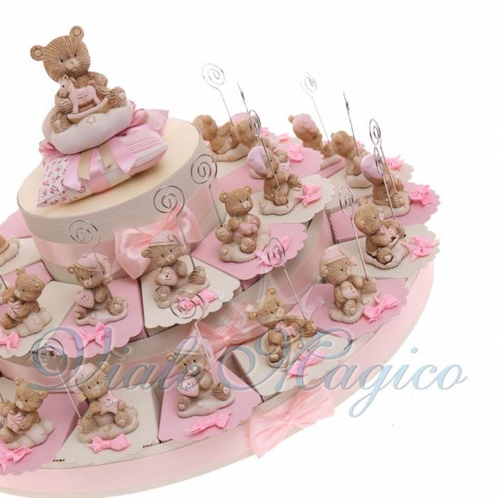 Torte Bomboniera Nascita Baby Shower con Memoclip Orsettina NinnaNanna Bimba