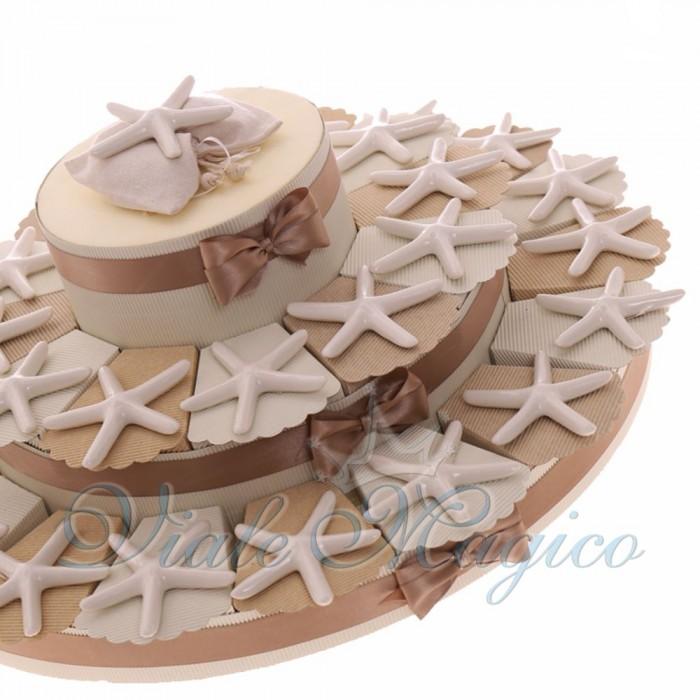 Bomboniere Matrimonio Tema Mare Stella Marina Maxi Torta White in Porcellana