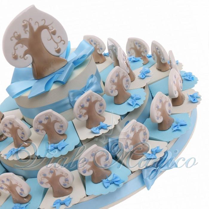 Torte Bomboniere Nascita Battesimo con Albero del Cuore Bimbo Confettata