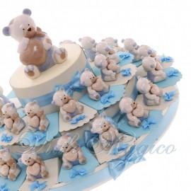 Torta Bomboniere Battesino Nascita con Orsetto dei Sogni Bimbo Confettata Low Cost