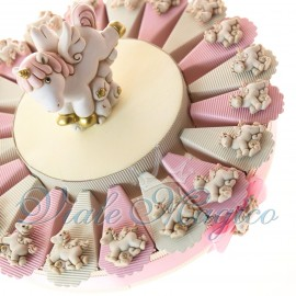Torta Portaconfetti Magnete Unicorno Rosa