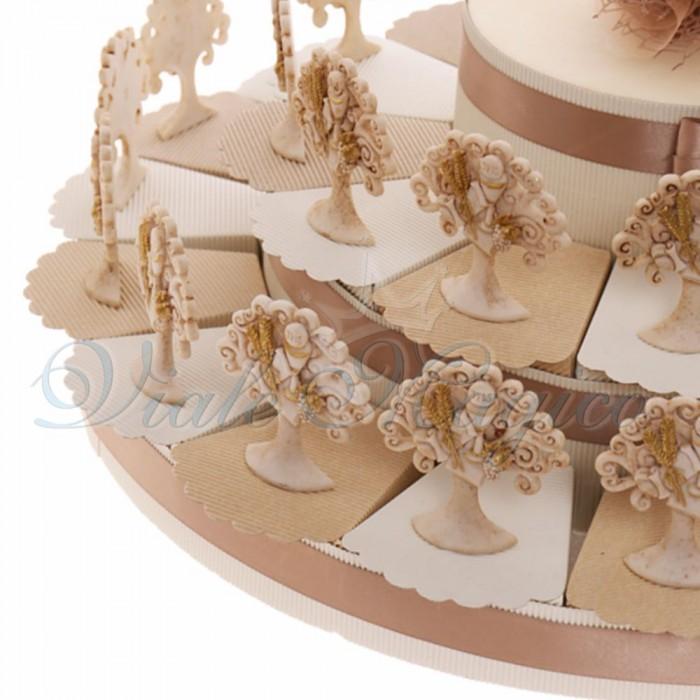 Torta Bomboniere Online per Prima Comunione Bimba Bimbo con Albero del Sacro Calice Glitter