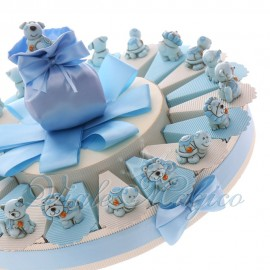 Bomboniere Primo Compleanno Bimbo Alzatina Torta Mix Animaletti Fortunati Bimbo