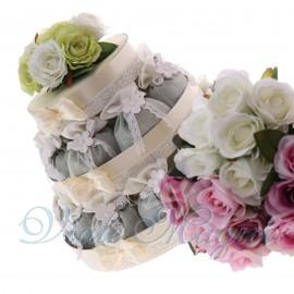 Torta Bomboniere Matrimonio Promessa Fiori con Sacchetti Flower Verde