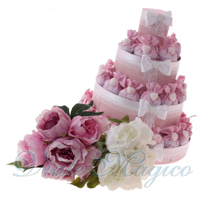 Torta Bomboniere Nascita Battesimo con Sacchetti Romantic Collection Bimba