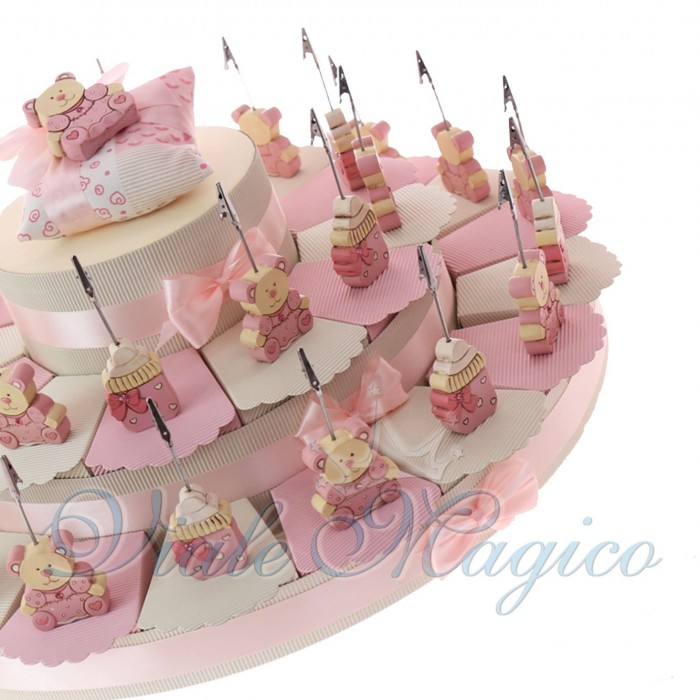 Torta Bomboniere Nascita Baby Shower Maxi con Memoclip Orsetto e Biberon Legno Bimba