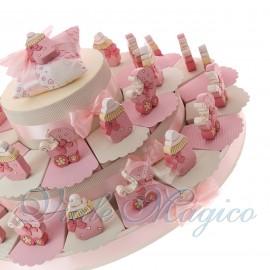 Torta Bomboniere Nascita Maxi con Statuine Carrozzina e Biberon Legno Bimba