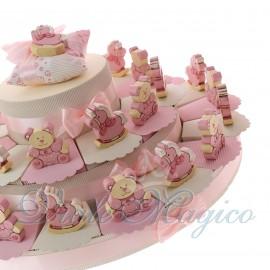 Torte Bomboniere Online Maxi con Statuine Pony e Orsetto Legno Bimba
