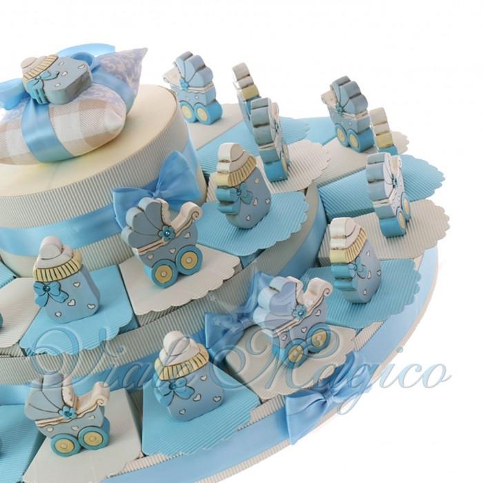 Torta BonBon Nascita Battesimo Maxi con Carrozzina e Biberon Legno Bimbo