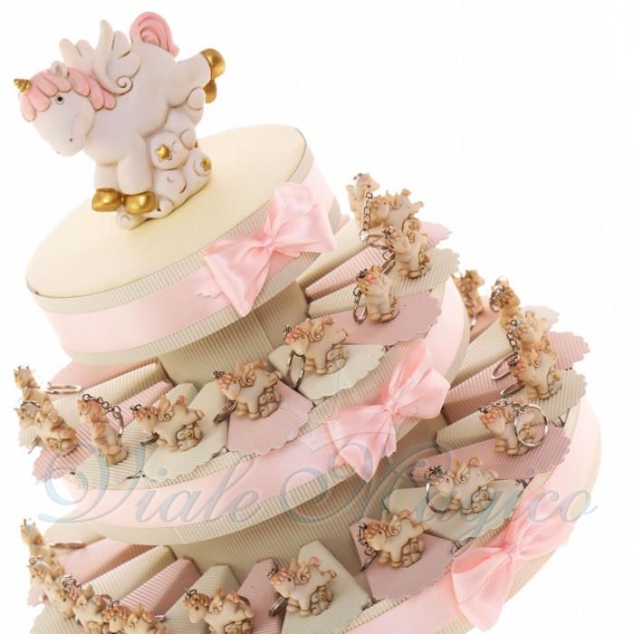 Torta Bomboniere Nascita Battesimo Bimba Portachiavi Unicorno in Offerta