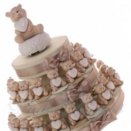 Torta Confetti con Statuina Orsetto Heart White