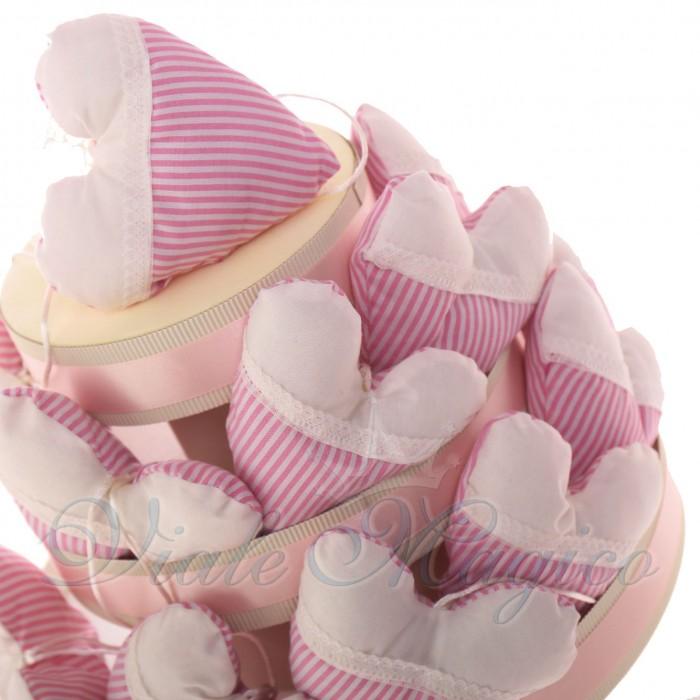 Torta Bomboniere Nascita Battesimo Bimba con 20 Sacchetti Cuore a Righe con Confetti