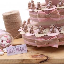 Bomboniere Nascita Torte con Orsetti Cuore per BabyShower Bimba MilleCuori