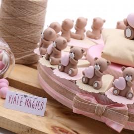 Bomboniere Nascita Torte con Statuine Orsetti Cuore Bimba MilleCuori