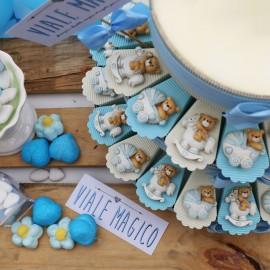 Torta Orsetto con Carrozzina e Pony Bimbo Magnete Pimpante