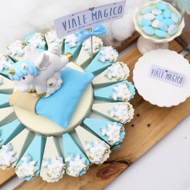 Torta Bomboniere Unicorno Battesimo Bimbo Calamita Fantasy Confettata