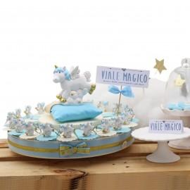 Torta Bomboniere Unicorno Battesimo Bimbo Portachiave Fantasy Confetti