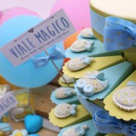 Torte Bomboniere Nascita Bavetta Carrozzina Biberon Tris Magnete