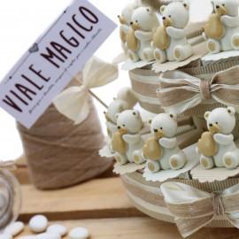 Bomboniera Torte con Orsetto Cuore Statuine Pensierini Battesimo Confezionate MilleCuori