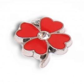 Mini Quadrifoglio Rosso con Strass Amuleto
