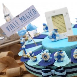 Torta Bomboniera Compleanno Tema Mare Party Marino Statuine Confetti