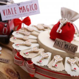 Torta Bomboniera Chiave con Cuore Matrimonio Ricami Calamita