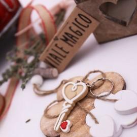 Portachiavi Chiave con Cuore Bomboniera Matrimonio Faidate