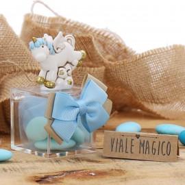 Unicorno Fantasy Statuine Bimbo su Plexiglass con Confettata