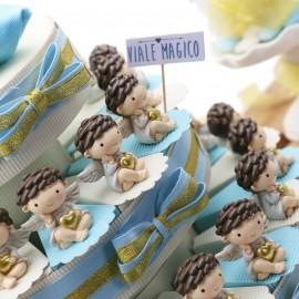 """Torta Bomboniere Battesimo Statuine Angeli """"Cuore degli Angeli"""""""