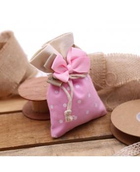 Sacchetti a pois per Bomboniera Nascita Bimba su Alzatina Torta con Confetti