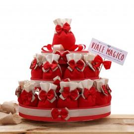 Torte Bomboniere con Sacchetti Rossi per Laurea o per Bomboniera Cresima Basic