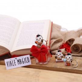 Bomboniere Laurea Portachiave Gufetto Hermes Vasetto con Confetti