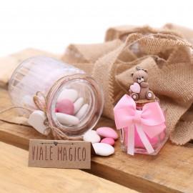 Portachiavi Orsetto Millecuori Bimba su Vasetto con Confetti