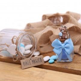 Portachiave Orsetto Millecuori Bimbo su Vasetto con Confetti
