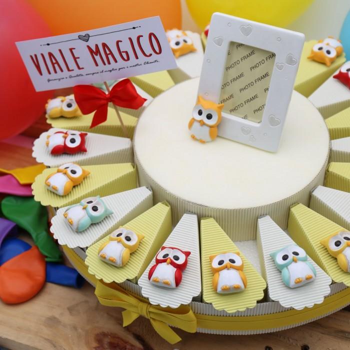 Torte Bomboniere Compleanno Calamita Gufetti Allegri con Confetti