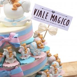 Torte Bomboniere Nascita Bimbi Gemelli con Statuine ORSETTI Pimpanti