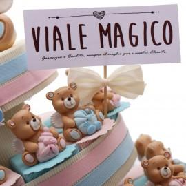 Torte Bomboniere Battesimo Gemelli con Statuine ORSETTI CON ALI Magicorsetti