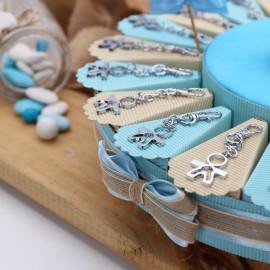 Torta Bomboniere Battesimo Bimbo Moschettone con Sagoma Maschietto