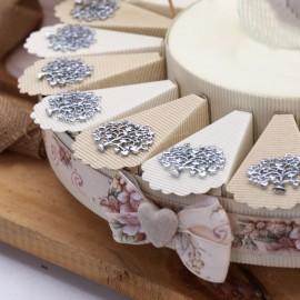 Albero della Vita con Cuori Matrimonio Ciondolo Silver su Torta Bomboniere