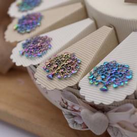 Albero della Vita con Cuori Matrimonio  Ciondolo Rainbow su Torta Bomboniere