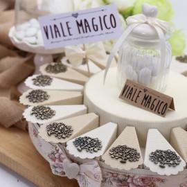 Torta Bomboniere Matrimonio Albero della Vita con Cuori Ciondolo Bronzo