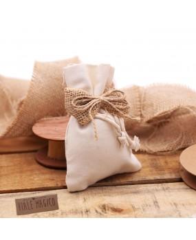 Bomboniere Matrimonio Sacchetto Fiocco in Juta Country con Confettate