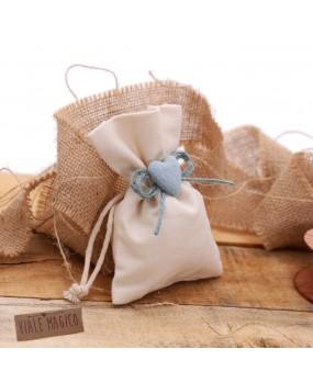 Bomboniere Battesimo Sacchettini con Cuore Bimbo con Confetti Spago Romantic