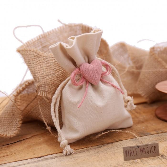 Bomboniere Battesimo Sacchetti con Cuore Bimba con Confetti Spago Romantic