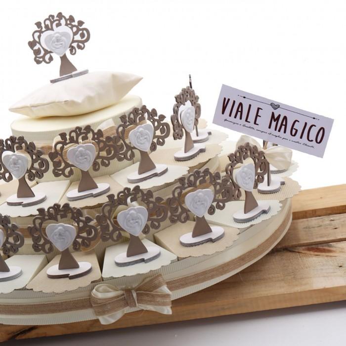 Bon Bon Torta Battesimo Comunione Albero della Vita con Sacra Famiglia Linea Tortora
