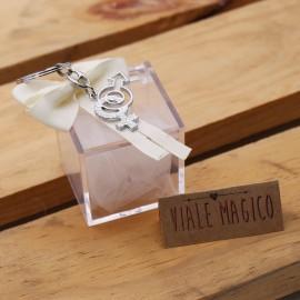 Bomboniera Matrimonio Simbolo Uomo Donna Satin con Portachiave Scatolina Plexiglass